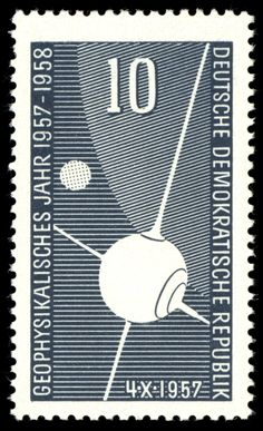 Stamp: Artificial satellite Sputnik I, part of the earth, moon (Germany, Democratic Republic (DDR)) (International geophysical year) Mi:DD 405 University Of Michigan, Parts Of The Earth, What A Beautiful World, East Germany, Postage Stamps, Taiwan, Illustrators, Kids Rugs, Germany
