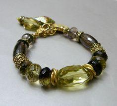 Citrine and Smoky Quartz Charm Bracelet with Gold by pmdesigns09