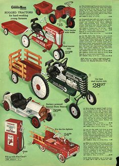 Pedal Tractors & Cars in Montgomery Ward Christmas Catalog, 1968