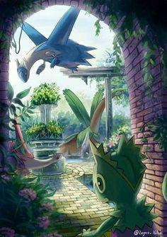 Kekleon, Latios, Latias and Tropius - Pokemon - Latios Pokemon, Latios And Latias, O Pokemon, Pokemon Comics, Pokemon Fan Art, Pikachu, Cute Pokemon Pictures, Pokemon Images, Pokemon Fusion