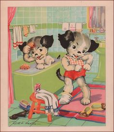 PUPPIES, DOGS, TAKING A BATH IN TUB by Ruth Newton, vintage print authentic 1934 #Vintage