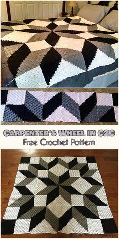 OMG Crochet C2C Carpenter's Wheel in C2C Free Pattern #freecrochetpatterns #crochetblanket