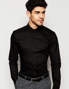 ASOS+Skinny+Shirt+In+Black+With+Long+Sleeves