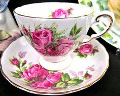 Tuscan tea cup and saucer painted rose clusters MOSS ROSE pattern teacup Tea Pot Set, Tea Sets, Vintage Mermaid, China Tea Cups, Tea Cup Saucer, China Porcelain, High Tea, Tea Time, Teacup