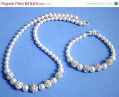 WINTER SALE Bridal Jewelry set. Pearl Crystal by HolyLandPaloma, $36.00
