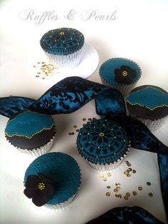 Dark Teal, Black, Gold Cupcakes