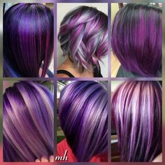 Haare Purple plum hair color options Know All About Central Air Conditioning There are a number of r Purple Hair Highlights, Hair Color Purple, Cool Hair Color, Plum Colour, Short Purple Hair, Purple Nails, Plum Hair Colors, Purple Hair Streaks, Black Hair