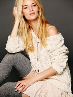 Free people shaggy knit pullover- Natural