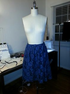Gathered navy lace skirt with roses - threw this one together quickly for some much needed practice with lace.
