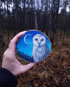 I Create Magical Paintings On Wood Inspired By The Forest Wood Painting Art, Stone Painting, Watercolor Paintings, Wood Artwork, Magical Paintings, Forest Design, Owl Art, Wood Slices, Gravure