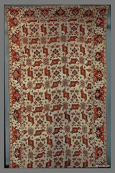 Carpet  Object Name:     Carpet Date:     probably late 16th–early 17th century Geography:     Turkey Medium:     Wool (warp, weft and pile); symmetrically knotted pile Dimensions:     Rug: L. 170 1/2 in. (433.1 cm) W. 93 5/8 in. (237.8 cm) Classification: