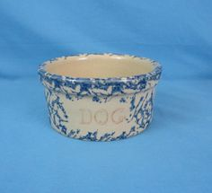 Vintage RRPco Dog Bowl Yellow ware Stoneware Sponged Robinson Ransbottom Pottery