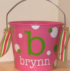 Personalized Easter Basket Bucket  5 quart by happythoughtsgifts, $22.00