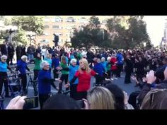 """Senior Flash Mob. Union Square, NYC October 25, 2011.   Best flash mob I've EVER witnessed. These people are wonderful!    This group is called  """"Tuesdays @ 4""""and is an Intergenerational creative dance art group.    """"We are old people. We are fabulous!"""""""