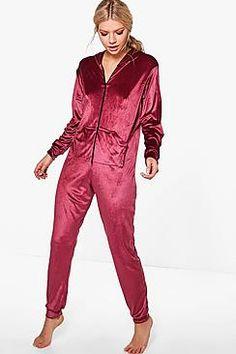 Rosie Velour Pocket Front Zip Through Onesie Onesie Pajamas d3726619e