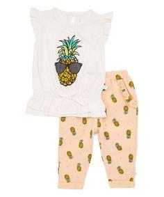 White Pineapple Angel-Sleeve Top & Pink Pineapple Pants - Infant