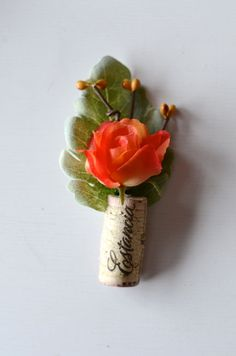 Rustic Boutonniere Coral Wedding by thebreadandbutterfly on Etsy