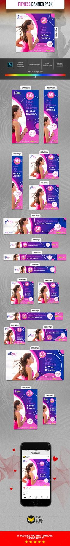 Buy Fitness Banner by TheThirdEyes on GraphicRiver. Fitness Banner Wonderfull fitness banners that can be used in campaing and promotion advertisements of almost all spo. Creative Banners, Web Banners, Website Promotion, Instagram Banner, Facebook Banner, Web Design, Flat Design, Graphic Design, Banner Template