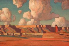 Remembrance of Tusayan - Dixon, Maynard (American, 1875 - Fine Art Reproductions, Oil Painting Reproductions - Art for Sale at Galerie Dada Illustrations, Illustration Art, Maynard Dixon, Shape Collage, Inspiration Artistique, Western Landscape, Southwestern Art, Guache, Art Reproductions