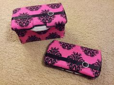Pink and Black Damask Baby or Makeup Wipe Case by YourCraftyCraze