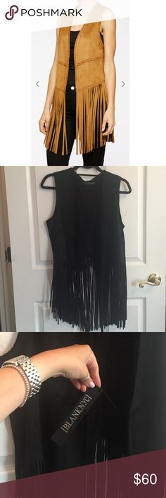 Blank NYC Faux Suede Fringe Vest Blank denim faux suede fringe vest. Color in photo is brown, but I am selling in black! New with tags, never worn. Looks great over a dress, with a tank top and shorts or with jeans! Super cute. Blank Denim Tops