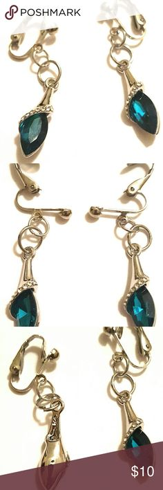"2"" Sil Pl Blue Waterdrop Crystal Clip On Earrings Custom 2"" Silver Plated Light Blue Water Drop Crystal Clip-on Dangle Earrings. Austria crystal light blue waterdrop zinc alloy fashion every occasion spring clip nickel free clip-on women's earrings.  Zinc alloy crystal fashion waterdrops.  Great for weddings, proms, anniversaries, and every wear. Great gift to give. Custom Jewelry Earrings"