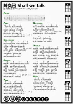 圍威喂 ukulele: 陳奕迅 Shall we talk [ukulele chord + Cover]