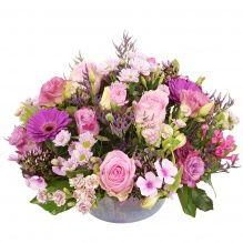 Biedermeier bloemstuk roze tinten ca. Ø 25 cm