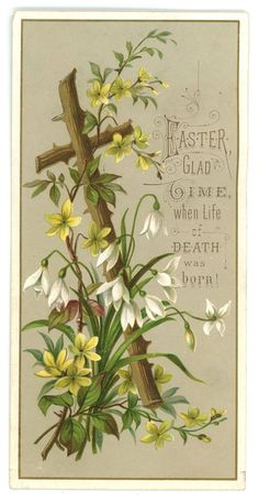 Items similar to Easter card vintage Victorian cross flowers gold 1881 greeting antique collectible on Etsy Easter Art, Easter Crafts, Easter Decor, Easter Ideas, Vintage Cards, Vintage Postcards, Happy Easter Quotes, Easter Prayers, Easter Greeting Cards
