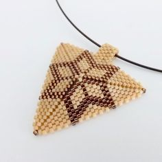 Peyote Star Triangle Pendant / Beaded Pendant in Brown Matte and Terracotta…