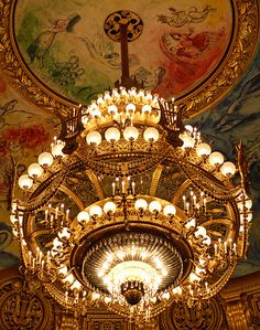 Chandelier and the Chagall ceiling, Opera Garnier Opera Garnier Paris, Paris Opera House, Beautiful Paris, I Love Paris, Covent Garden, Charles Garnier, Abandoned Houses, Abandoned Castles, Abandoned Mansions