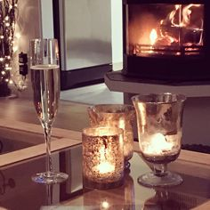 Prosecco and fireplace
