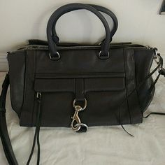 Rebecca Minkoff Bowery grey satchel Rarely used, perfect condition. Grey satchel with cross-body strap and front clasp detail. Comes with dust bag. Rebecca Minkoff Bags Satchels