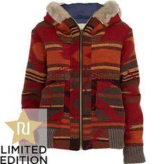 red aztec print hooded jacket - jackets - coats / jackets - women - River Island