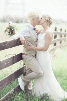 23 Incredible Gay and Lesbian Wedding Outfits Need style inspiration for your LGBT wedding? These wedding dresses, suits and outfits from real weddings are just stunning. Lesbian Wedding Photos, Lgbt Wedding, Wedding Pictures, Lesbian Beach Wedding, Lesbian Wedding Photography, Wedding Bride, Wedding Hair, Wedding Ceremony, Rustic Wedding