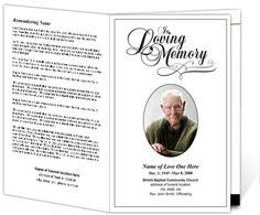 Printable Funeral Programs: Simple Funeral Program With Elegant Script In  Loving Memory Template