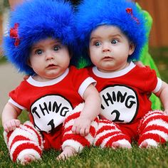 Thing One & Thing Two! Adorable Halloween costumes! Love them @Shelley Parker Herke Coates #halloweencostumes #howdoesshe