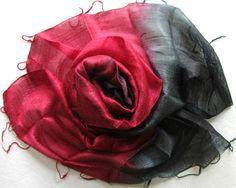 ilk Shawl Red Black Handwoven Silk by PlanetEarthHandmade on Etsy