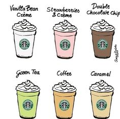 starbucks drawing flavors. My favorite is DOUBLE CHOCOLATE CHIPPPP.