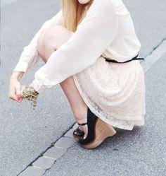 dress. wedges.