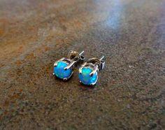 Fire Opal studs Earrings Blue Opal with 316L by Purityjewel, $19.99