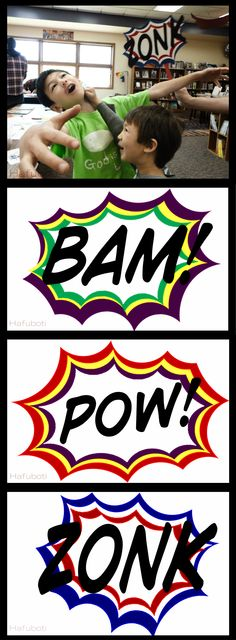Free printables of the Bam, Pow, and Zonk photo props at http://hafuboti.com/2014/07/28/fcbd-2014/ - perfect for CSLP's Every Hero Has a Story | Hafuboti.com