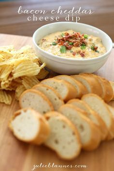 Amazing Bacon Cheddar Cheese Dip Recipe.  8 ounces cream cheese, softened; 2 cups sour cream; 1/2 package bacon, cooked and diced; 1 c green onion, chopped; 2 cups shredded cheddar. Combine and bake at 400 degrees for 25 minutes. Stir and serve with veggies, crackers, baguette or potato chips.