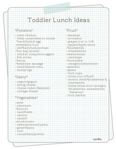 Toddler Lunch Ideas - good list, this will take away much thinking time