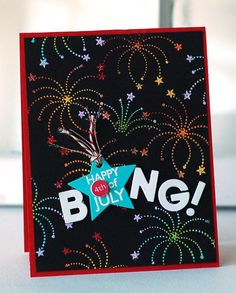 Black cardstock with multi-colored embossed fireworks. Technique would be nice with candles.