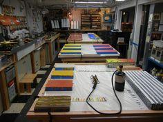 Encaustic works in progress in Karl Kaiser's studio.