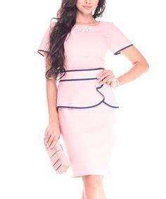 Look at this #zulilyfind! Peach Contrast-Trim Linen-Blend Short-Sleeve Dress #zulilyfinds