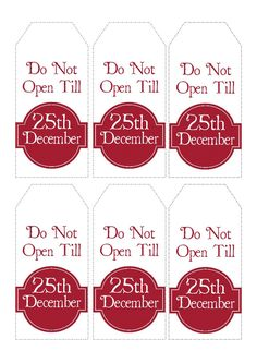 Christmas Gift Tags Printable- Do Not Open Till 25th December tags by KarooveDownloadables on Etsy