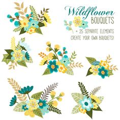 Flower Bouquet Clip Art // Floral Arrangement // Wedding Invitations Art // Flowers Leaves Twigs // Blue Yellow Green // Save the Date