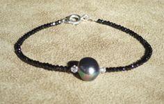 Black Spinel Bracelet, Black Bracelet, Pearl Bracelet, Silver Pearl Bracelet, Gemstone Bracelet, Skinny Bracelet by ThreeMagicGenies on Etsy